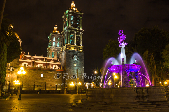The Puebla Cathedral at Night